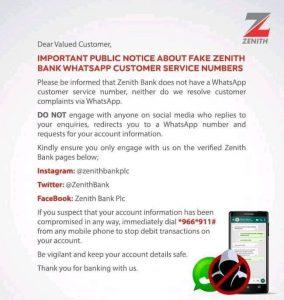 ZENITH BANK: DISCLAIMER!