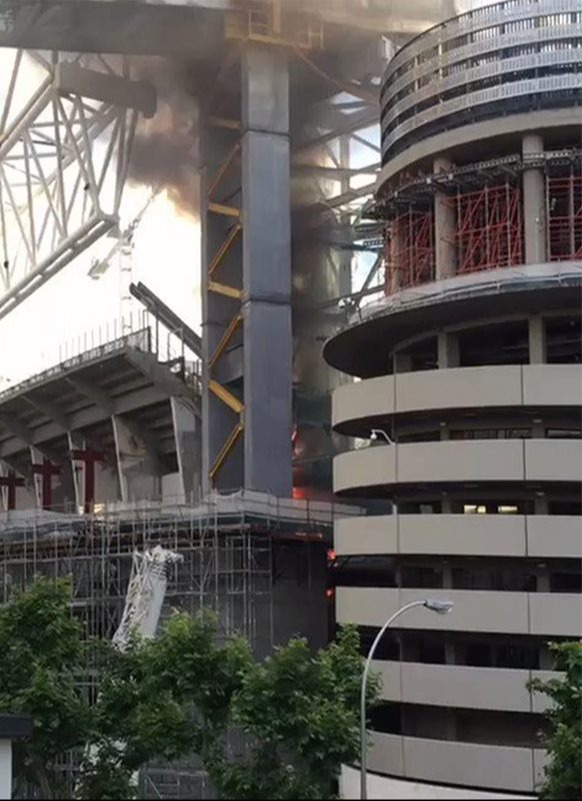 See How Real Madrid's Bernabeu catches fire during repair works(VIDEO)