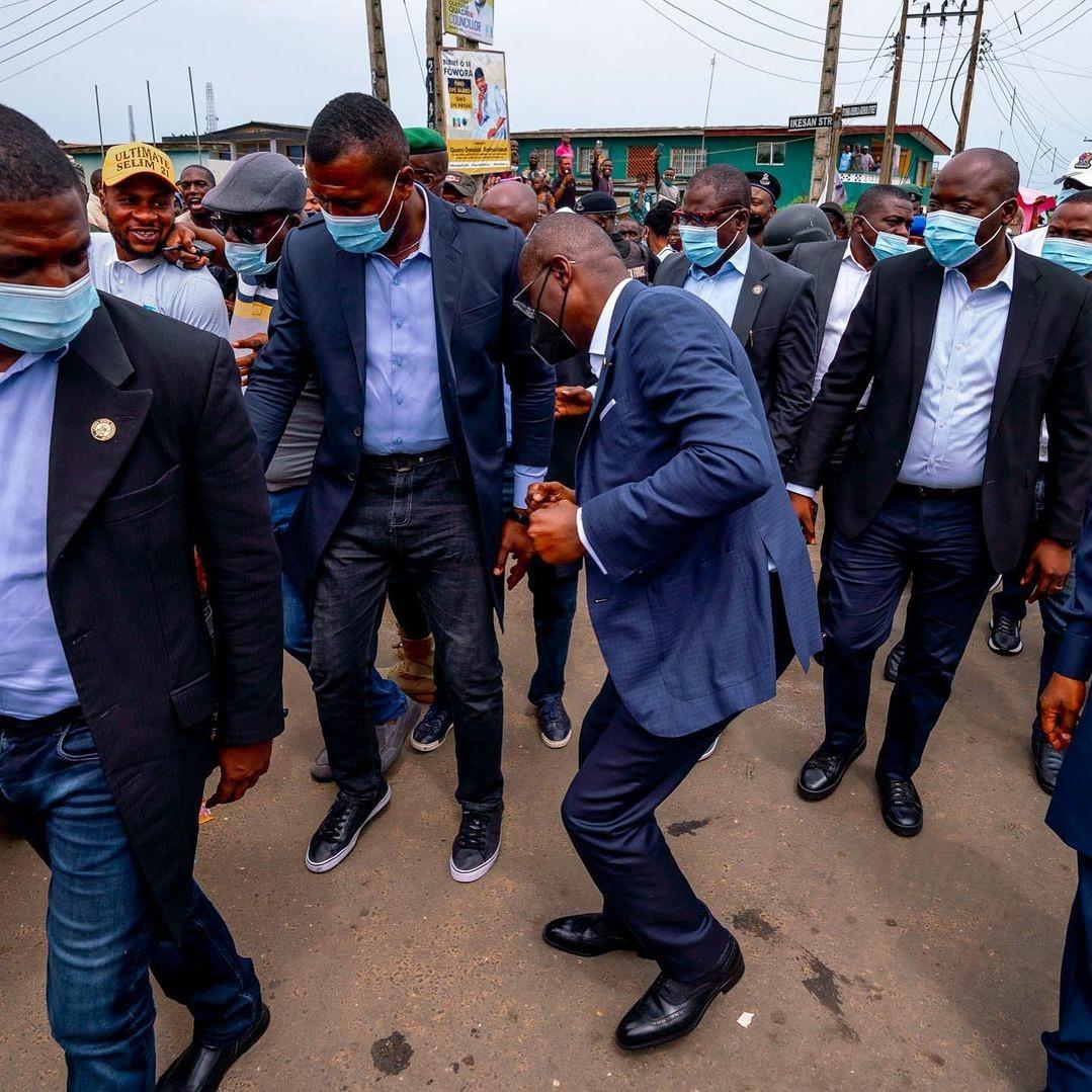 Lagos state governor, Babajide Sanwo-Olu, praises God as he turns 56